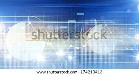 High tech blue background image with graphs and diagrams