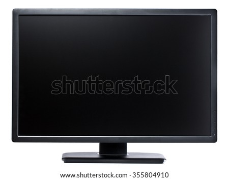 High-tech flatscreen 24 inch computer display in landscape orientation isolated - stock photo