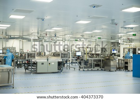 High-tech machinery and technology equipment in in sterile factory hall for producing high-tech car and jet modules and high-end component, Plovdiv, SENSATA Bulgaria, April 08, 2016.
