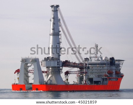 High tech offshore construction vessel - stock photo