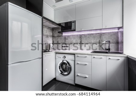 Laundry Room High Tech Style Black And White Kitchen With Modern Fridge Exhaust Washing Machine Microwave Oven