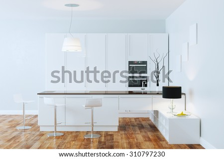 High Tech white kitchen with stainless steel appliances in white room  - stock photo