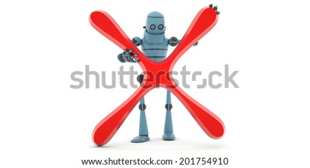 """High technologies, the robot holding a sign """"not accepted"""" ,front view, 3d render - stock photo"""