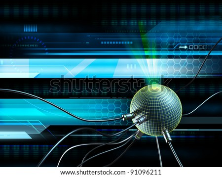 High technology background with some wires connected to a glowing sphere. Digital illustration. - stock photo