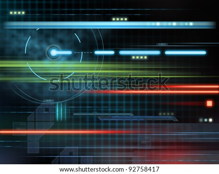 High technology composition with glowing shapes over a dark background. Digital illustration. - stock photo