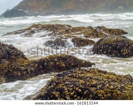 High Tide Coming in on the Oregon Coast at Ecola Beach - stock photo