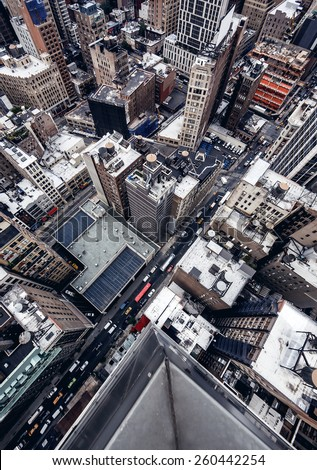 High top view of city buildings in New York