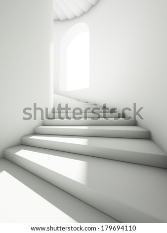 High tower with spiral staircase - stock photo