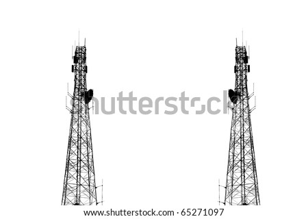 High transmitter tower isolated on white - stock photo