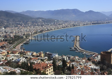 High view of Alanya bay in Turkey. - stock photo