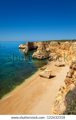 High view of Marinha beach at Lagoa, Algarve, Portugal