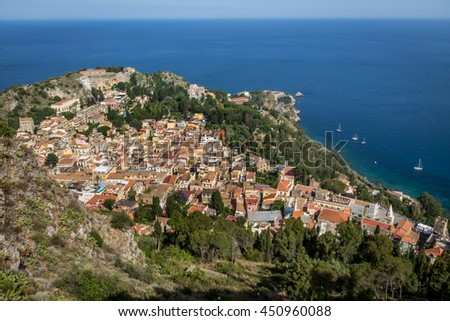 High view of Taormina - Sicily, Italy