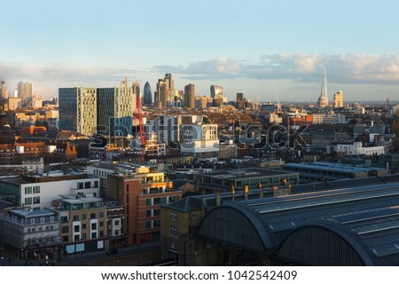High view of the City of London from King's Cross on a clear sunny evening in March 2018