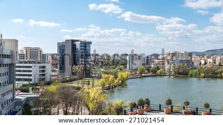 High View Panorama Of Cluj Napoca City In Romania - stock photo