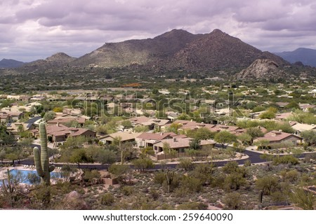 High viewpoint of Arizona north Scottsdale,Cavecreek community with Mountain in background. - stock photo