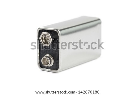High voltage battery isolated on white - stock photo