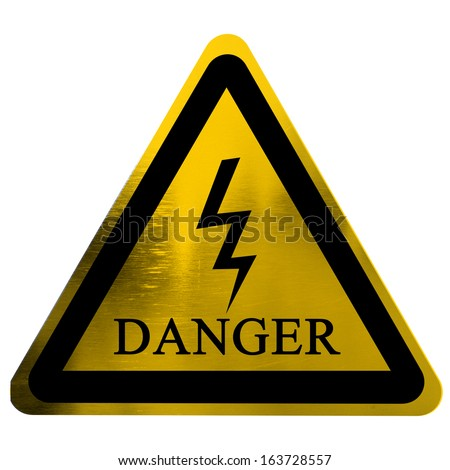 high voltage danger sign isolated on a solid white background