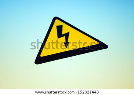 High voltage danger sticker in perspective - stock photo