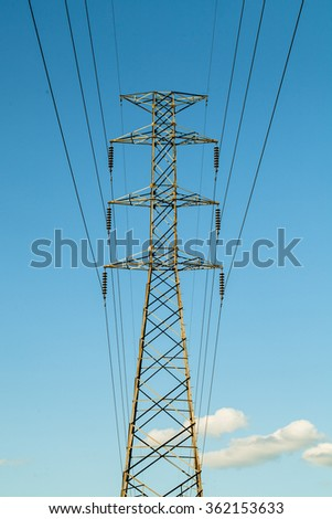 High voltage electric and blue sky
