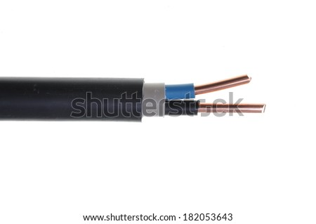 High voltage electric cable isolated on white