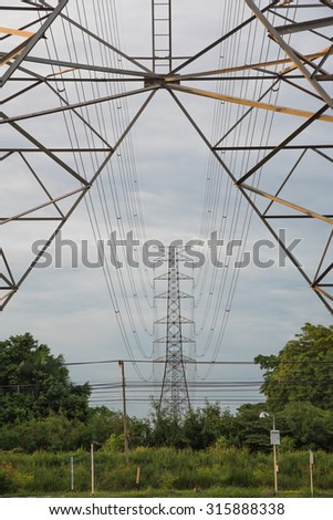 high voltage electric pole and power cable wiring between