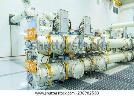 High voltage electric power 500 kV Gas Insulated Switchgear in control building (GIS) - stock photo