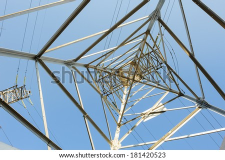 high voltage electric power lines on pylons