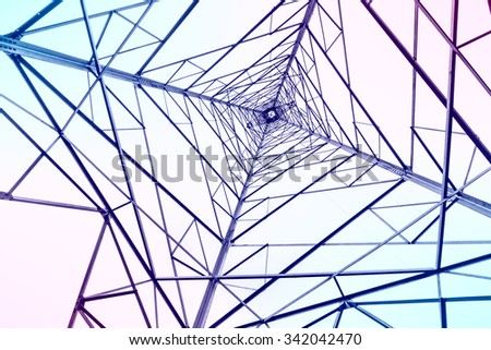 High voltage electric tower abstract background in the sky