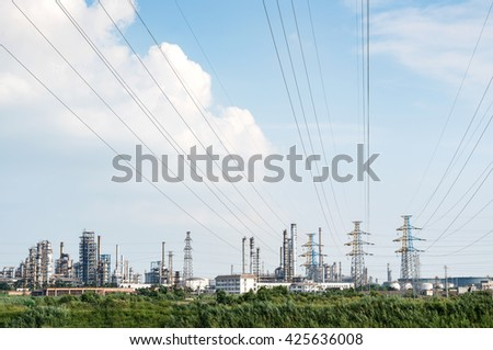High voltage electric tower in the refinery