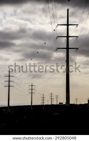 High Voltage Electric Transmission Tower Energy Pylon - stock photo