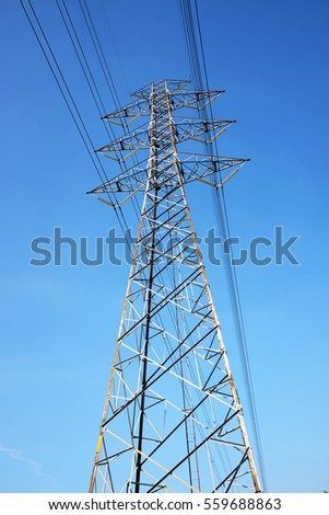 High Voltage Electrical Post Wire Under Stock Photo 559688863 ...