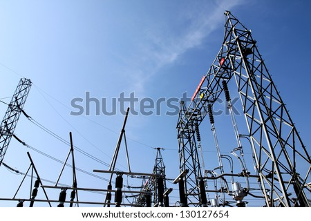 High Voltage Electrical Substation - stock photo