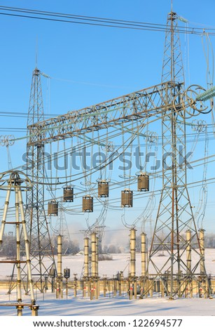 High Voltage Electrical Substation  in   winter