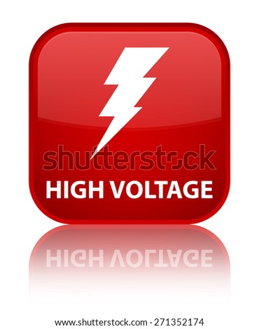 High voltage (electricity icon) red square button - stock photo