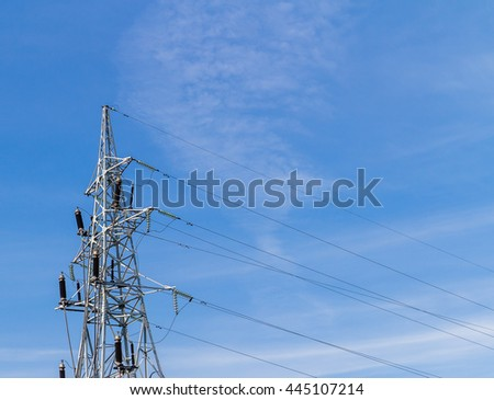 High voltage electricity pole with wires