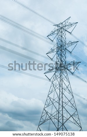 High voltage electricity pylon and the sky with many clouds