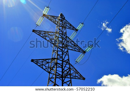 High voltage electricity pylon for the transport and transformation from high to low voltage - stock photo