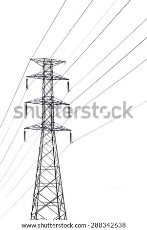 High voltage electricity pylon on white background