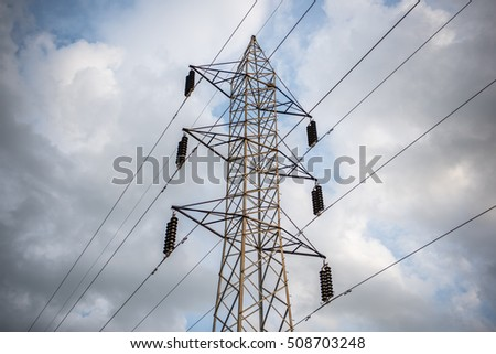 High voltage electricity tower at Parli Vaijnath, Beed, Maharashtra, India, southeast, Asia.