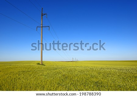 High voltage electricity transmission lines in the field