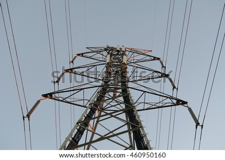 High Voltage Line with Cell Towers