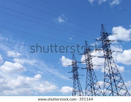 High voltage lines - stock photo