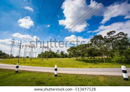 High voltage lines and power pylons  at EGAT Mae Moh coal-fired power plant, Lampang, Thailand.