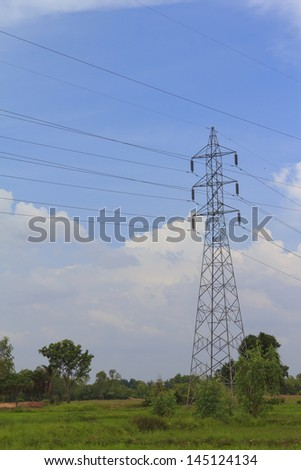 High voltage pole - stock photo