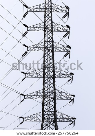 high voltage pole and line electric connected in nature background