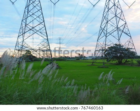 High voltage pole, fields and beautiful evening skies with energy concepts for the future