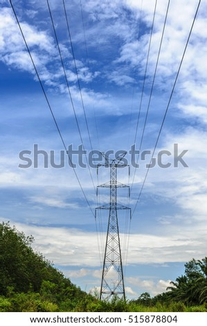 High voltage pole, High-voltage tower with blue sky background.