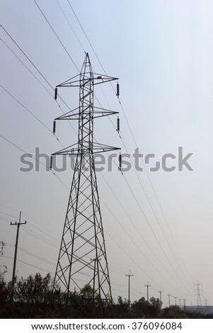 High voltage pole Supplying power to the entire city.