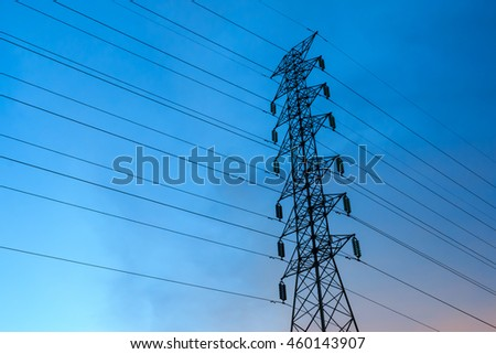 High voltage pole with sky background