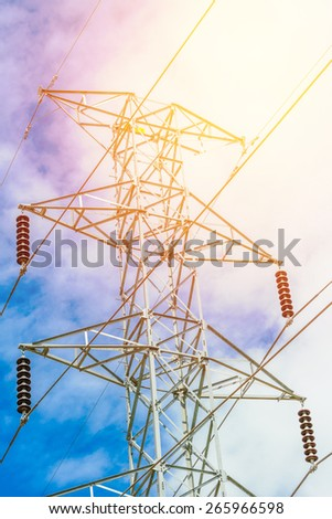 High voltage post - stock photo